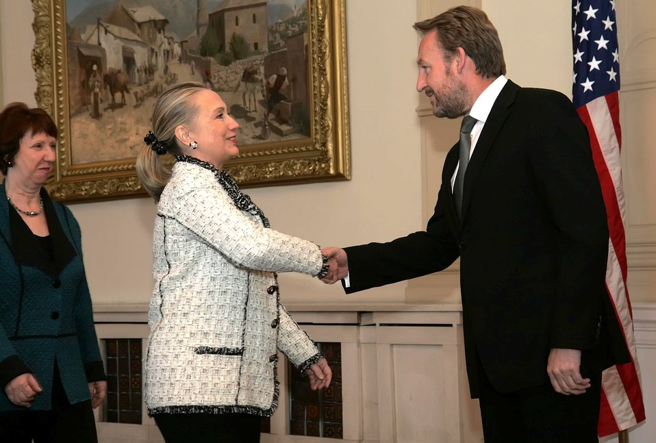 SSecretary Clinton and EU High Representative Ashton Meet With ecretary Clinton Shakes Hands With Chairman of the Presidency of Bosnia and Herzegovina Izetbegovic