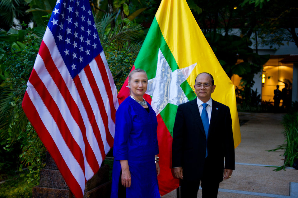 Secretary Clinton and Burmese President Thein Sein Pose for a Photo