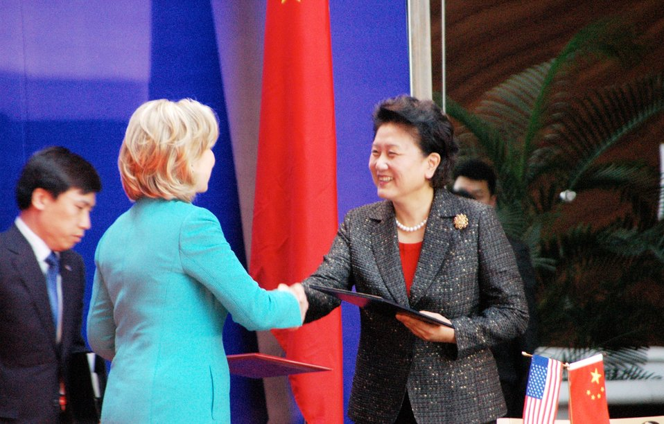 Secretary Clinton and Chinese State Councilor Liu Yandong Shake Hands