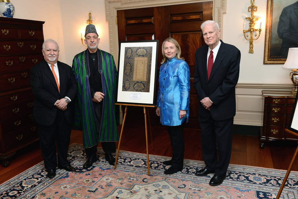 Secretary Clinton Participates in Library of Congress Presentation to the Government of Afghanistan