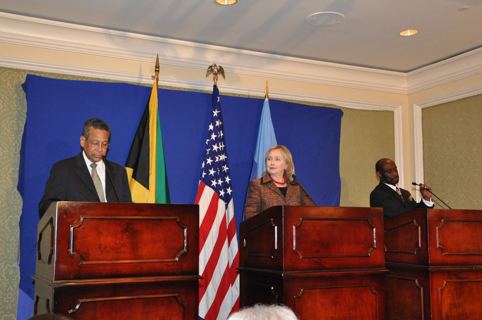 Secretary Clinton, Jamaican Foreign Minister Baugh, and St. Kitts and Nevis Deputy Prime Minister Condor Hold a Press Conference