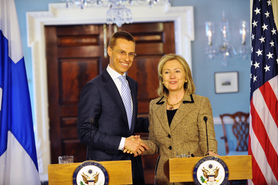Secretary Clinton Shakes Hands With Finnish Foreign Minister Stubb