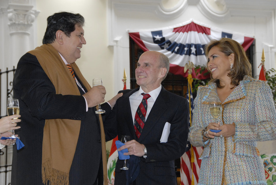 Peruvian President Alan Garcia Perez Speaks with Ambassador Michael McKinley and Fatima McKinley