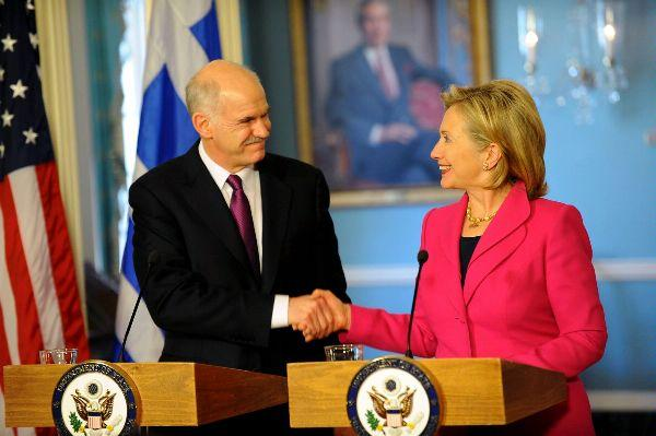 Secretary Clinton With Greek Prime Minister George Papandreou