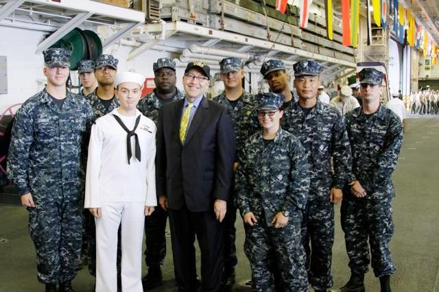 Ambassador Jacobson With U.S. Wasp Marine and Navy Crew Aboard the USS Wasp