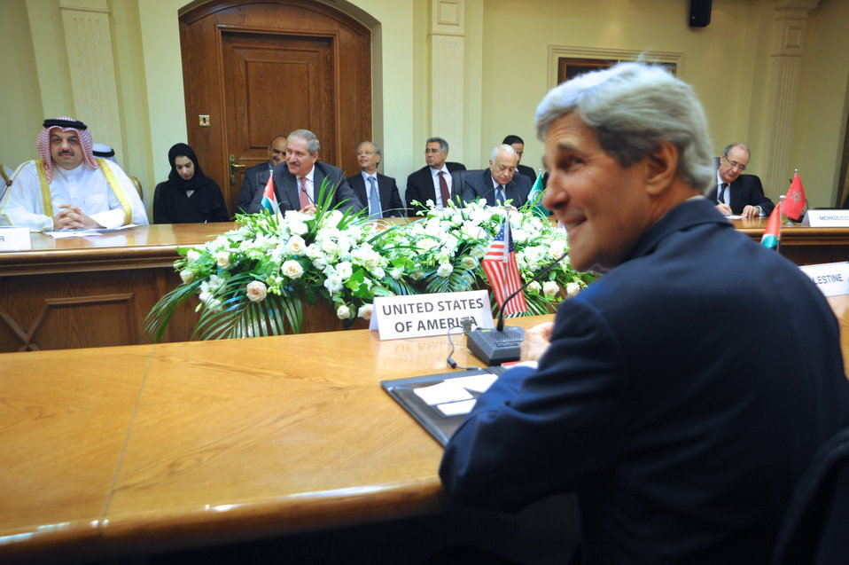 Secretary Kerry Prepares for a Meeting with Arab League Members