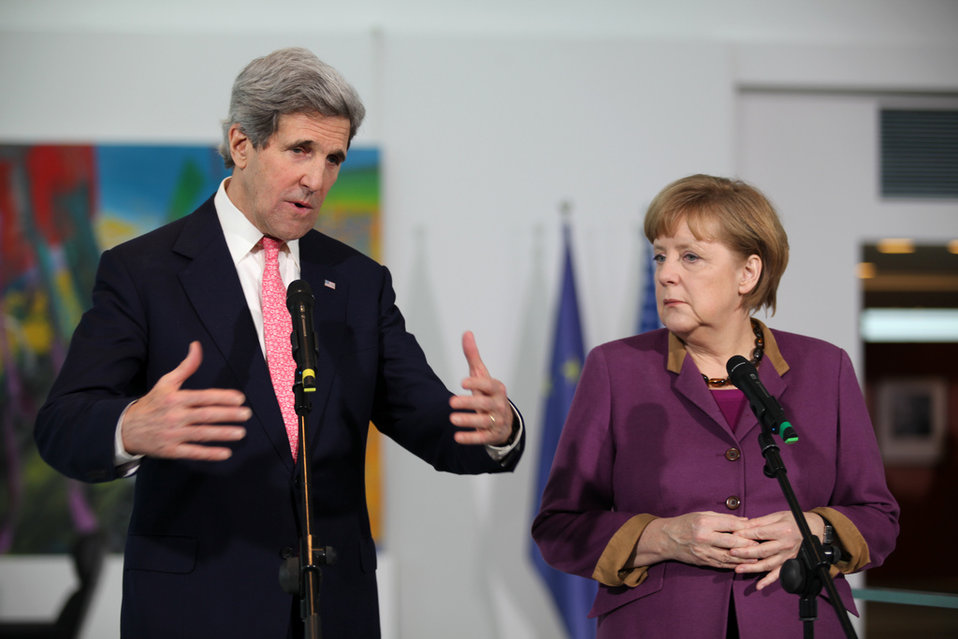 Secretary Kerry and German Chancellor Merkel Address Reporters