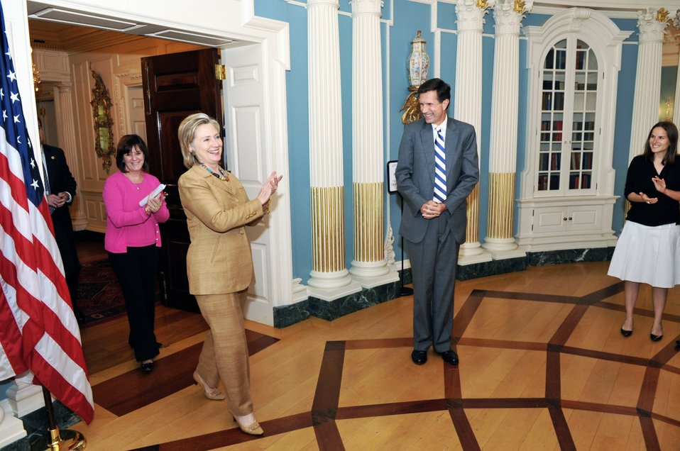 Secretary Clinton Shows Her Gratitude to Assistant Secretary Blake and Bureau of South and Central Asian Affairs Staff