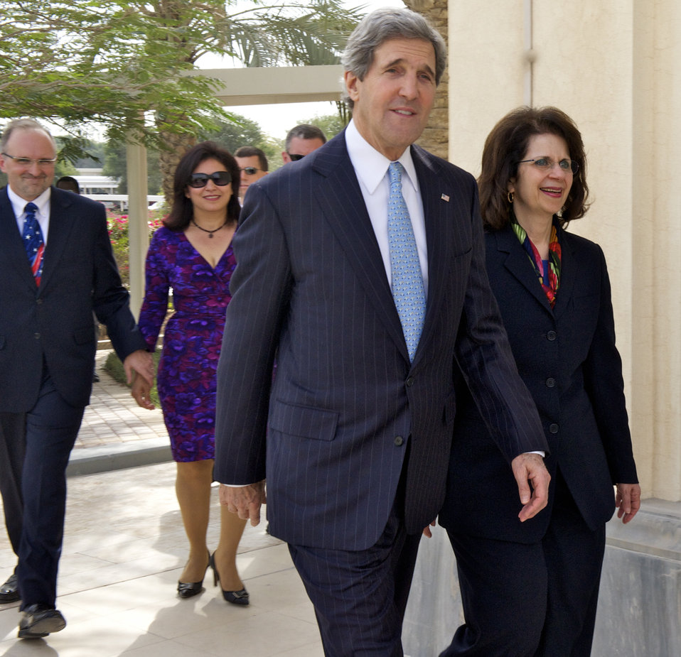 Secretary Kerry With Ambassador Ziadeh, Deputy Chief of Mission McCary, and Mrs. McCary