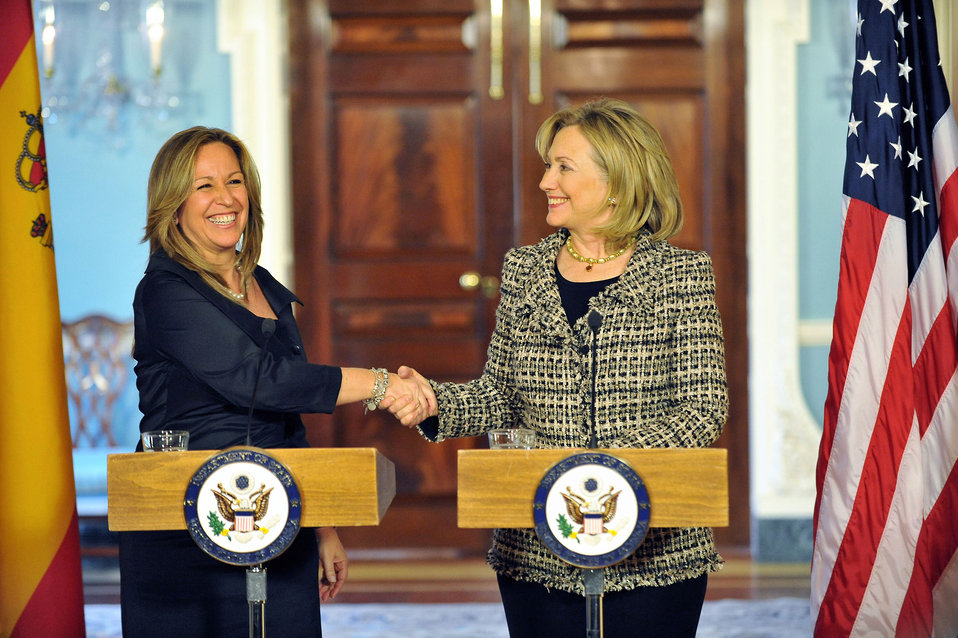 Secretary Clinton Shakes Hands With Spanish Foreign Minister Jimenez