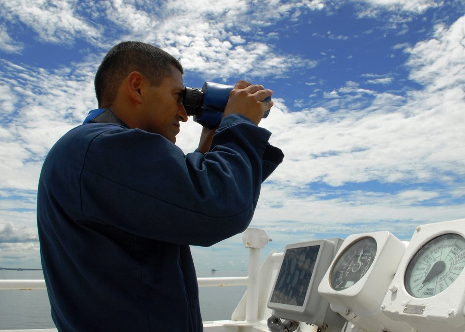 Ordinary Seaman Catalan Looks Through Binoculars