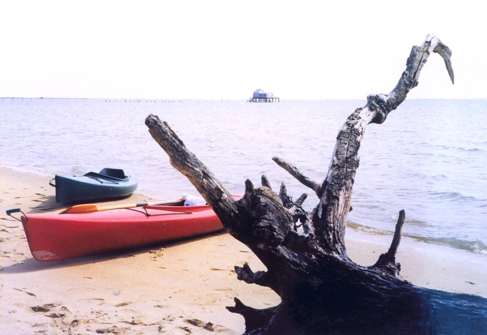 Kayaks on the beach at Chincoteague with a wonderful piece of driftwood.