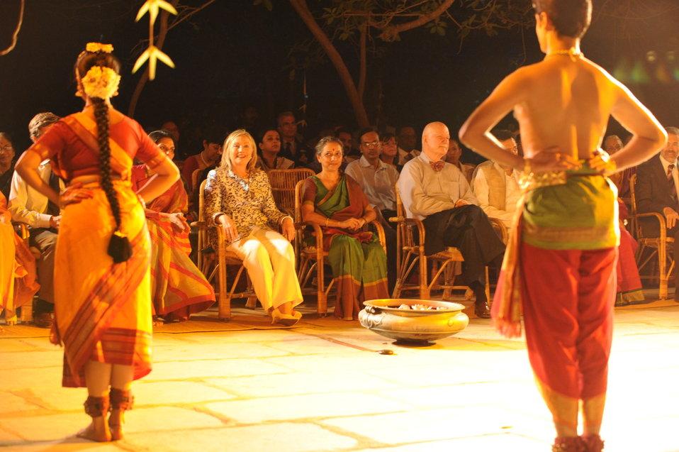 Secretary Clinton, Leela Samson, and Ambassador Burleigh Enjoy the Bharat Natyam Performance