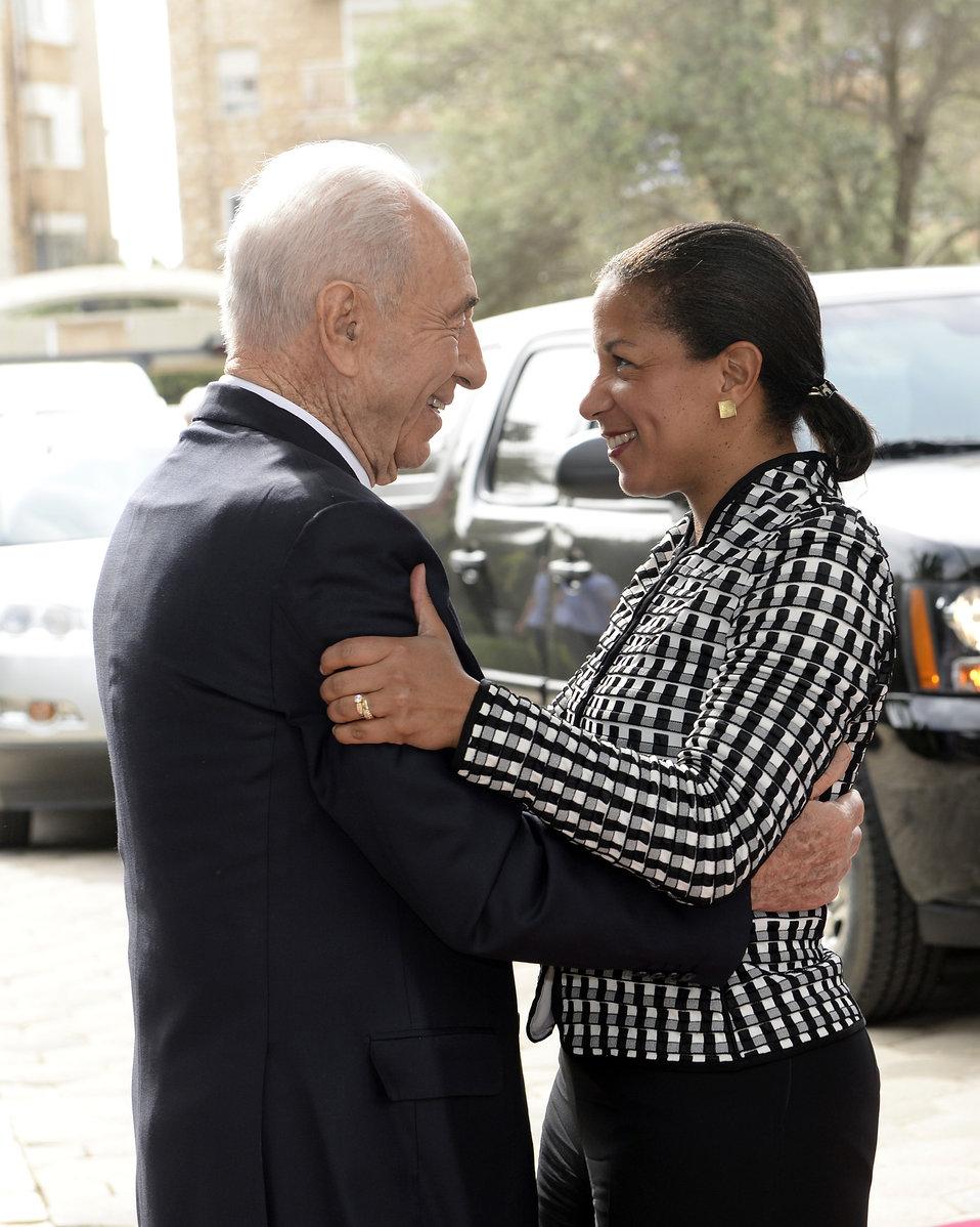 Israeli President Peres Welcomes Ambassador Rice
