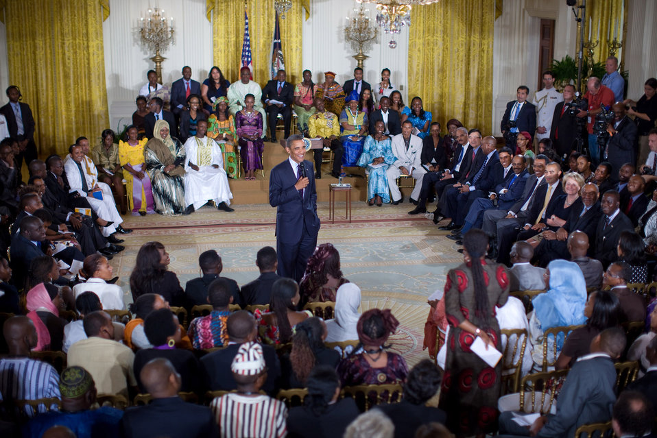 President Obama Listens to a Question from Shamima Muslim of Ghana