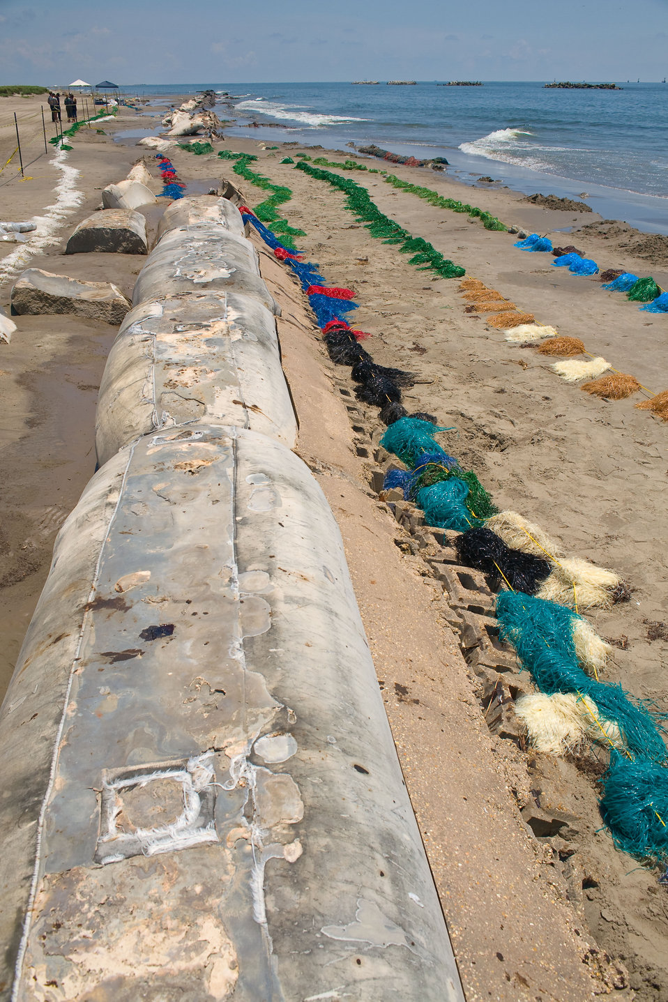 June 1, Beaches lined with absorbent oil material