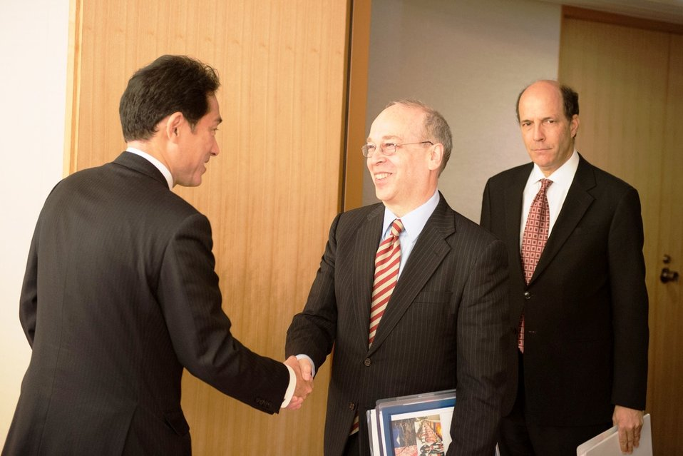 National Security Council Senior Director and Ambassador Roos Are Greeted By Japanese Foreign Minister Kishida