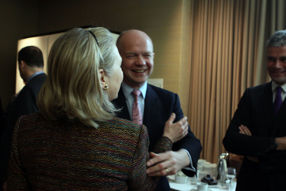 Secretary Clinton Speaks With British Foreign Minister Hague and French European Affairs Minister Vauquier