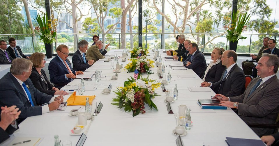 Secretaries Clinton and Panetta Participate in the AUSMIN Working Lunch with Australian Ministers Carr and Smith