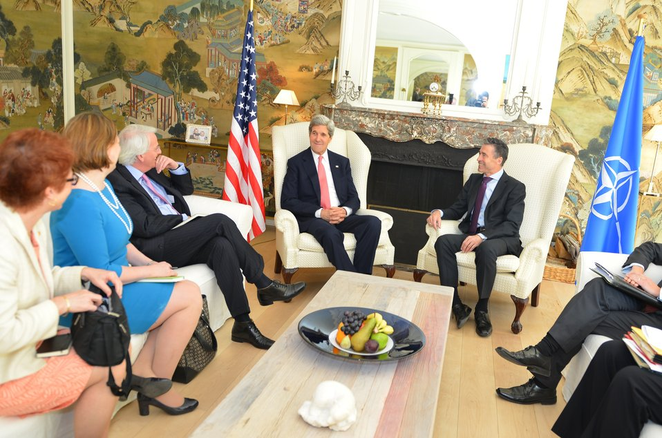 Secretary Kerry Meets With NATO Secretary General Rasmussen