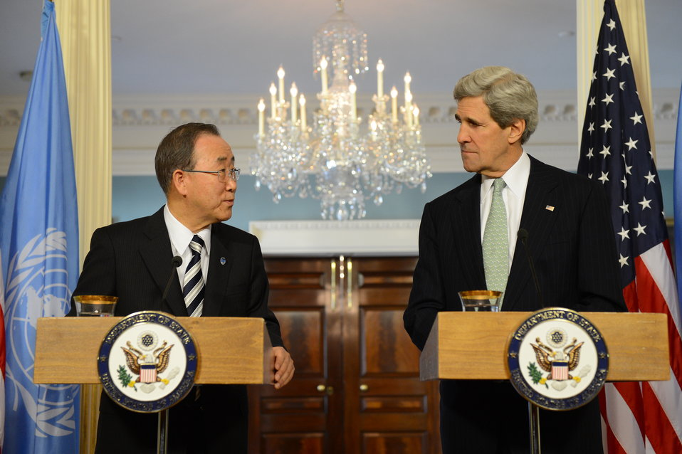 Secretary Kerry and UN Secretary General Ban Ki-moon Address Reporters