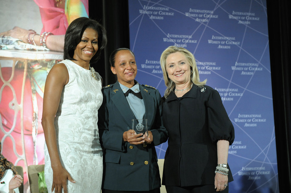 Secretary Clinton and First Lady Obama With 2012 IWOC Award Winner Maj. Pricilla de Oliveira Azevedo of Brazil