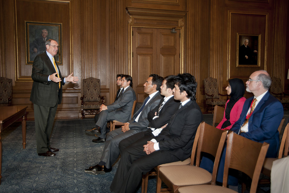 Clerk Suter Speaks With 2012 Jessup Moot Court Competitors from Afghanistan