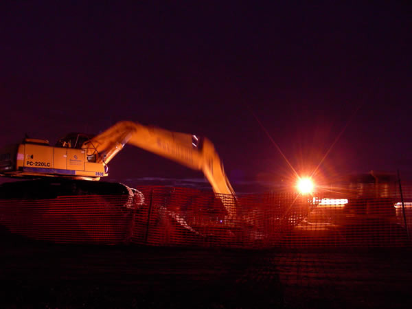 December 2009, Work crews continue into evening hours