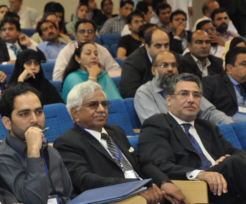 Front row extreme right: Former Punjab Education Minister Mian Imran Masud at the conference