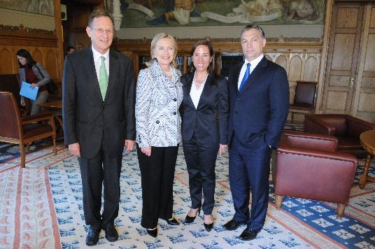 Secretary Clinton Poses for a Photo With Hungarian Prime Minister Orbán, Hungarian Ambassador Szapary, and Ambassador Kounalakis