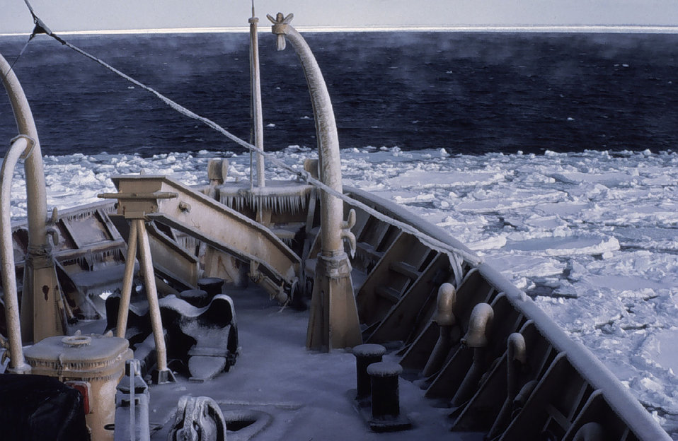Sea smoke, sea ice, and icicles. NOAA Ship SURVEYOR in some co-l-l-l-d weather