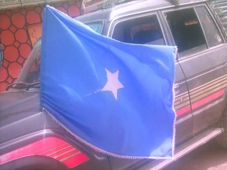 Somali flag flying in Badhan