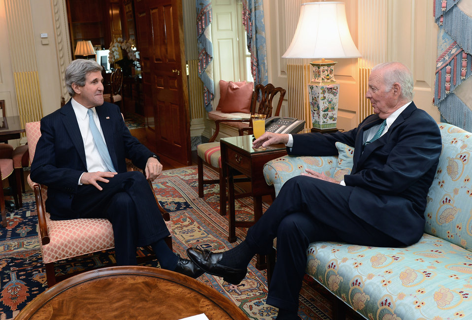 Secretary Kerry Meets With Former Secretary Baker