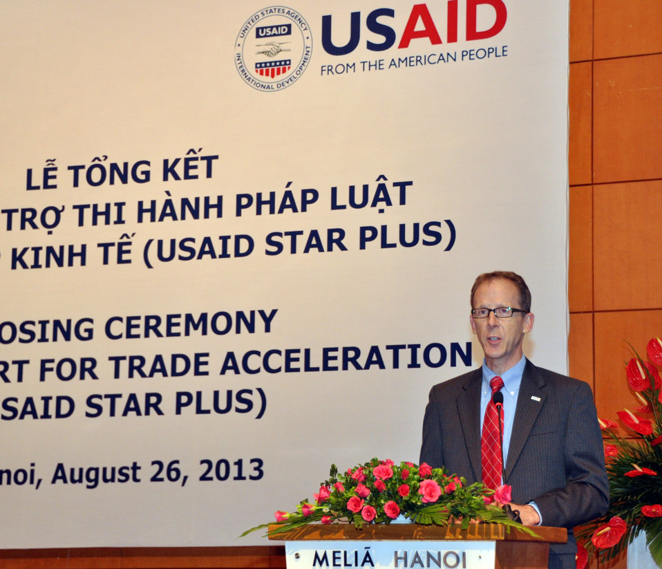 USAID Mission Director Joakim Parker speaks at the USAID Support for Trade Acceleration Project (USAID STAR Plus) Closing Ceremony