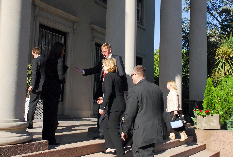 Secretary Clinton Arrives in Montevideo, Uruguay
