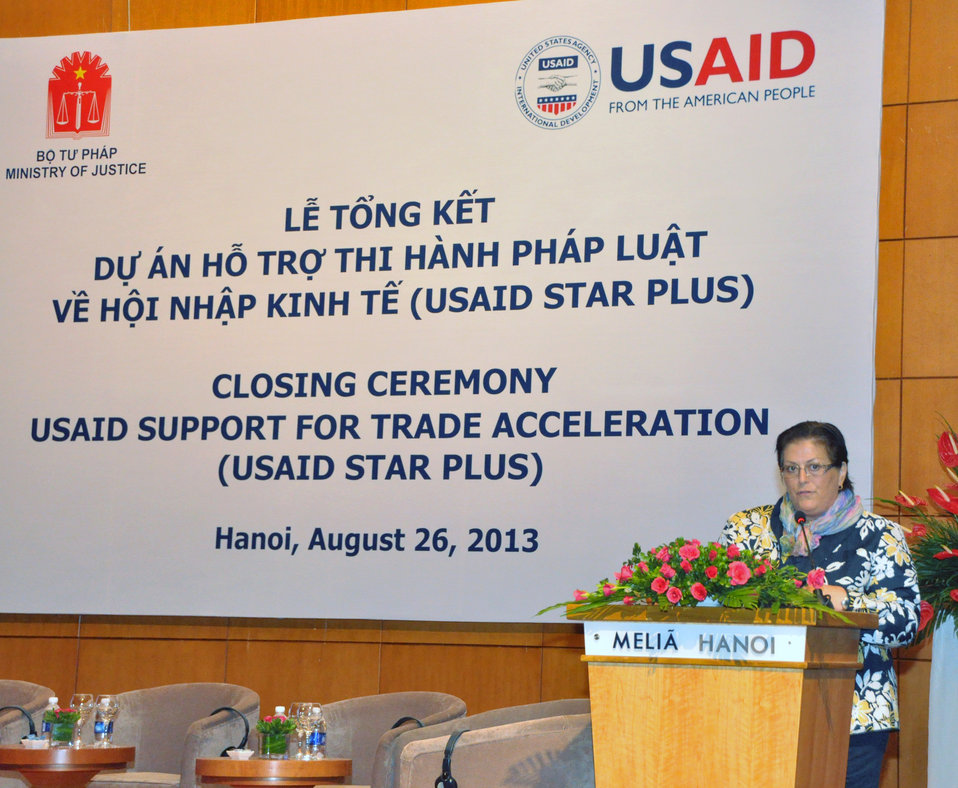 U.S. Embassy Charge d'Affaires Claire Pierangelo speaks at the USAID Support for Trade Acceleration Project (USAID STAR Plus) Closing Ceremony