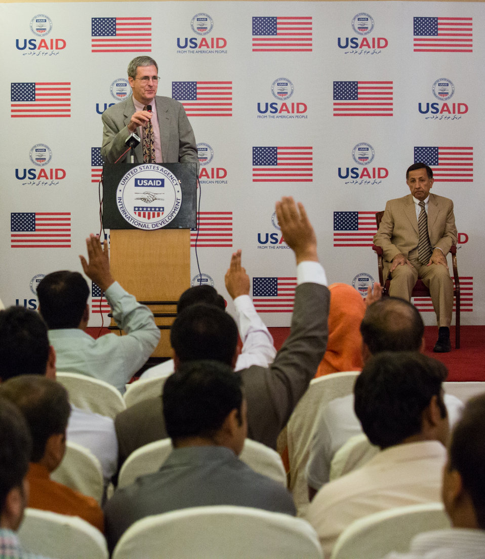 Islamabad, September 26 2012 - Jonathan Conly, USAID Pakistan Mission Director, speaking to the participants of the training program.