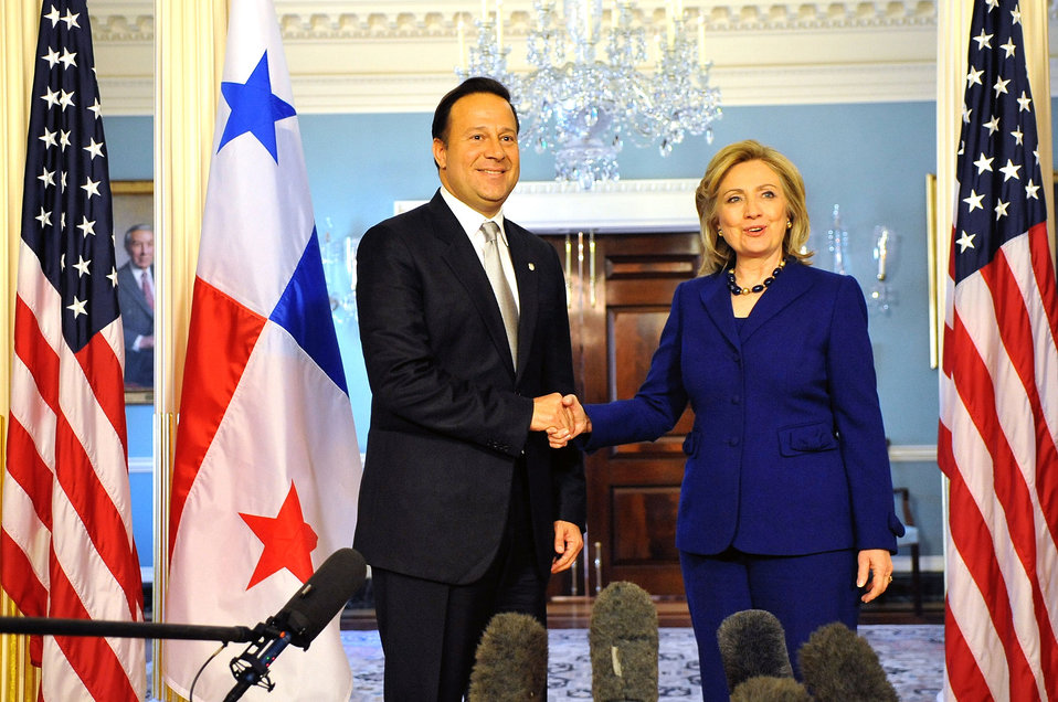 Secretary Clinton Shakes Hands With Panamanian Vice President and Foreign Minister Varela