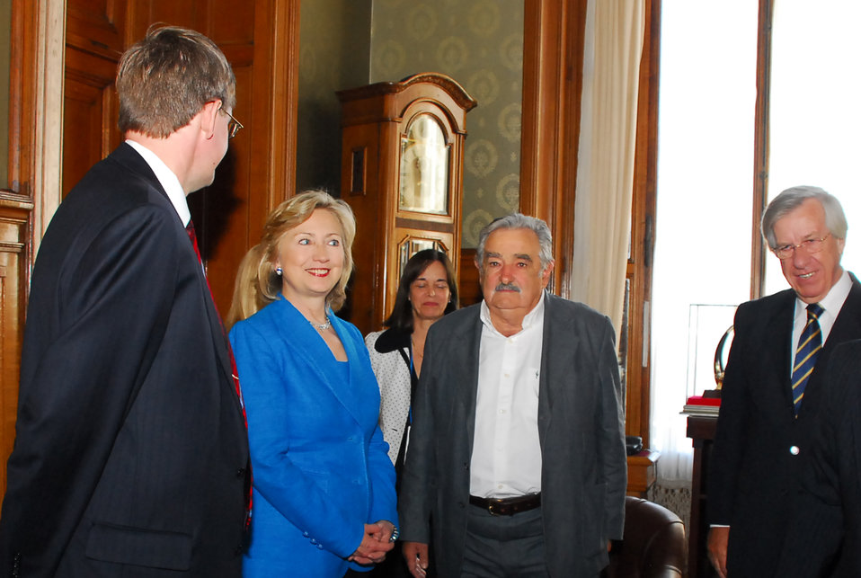 Secretary Clinton Meets With Uruguay President-elect