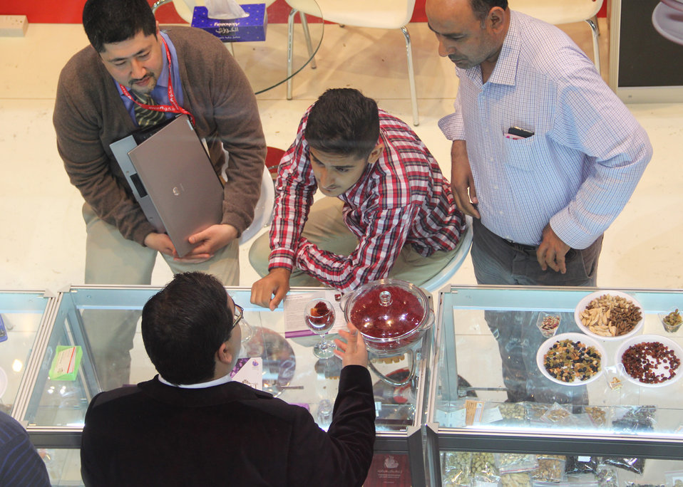 Gulfood buyers discuss a possible deal for Afghanistan's saffron, which won first prize for quality in an international competition in France in late 2012. Afghan traders signed deals worth more than $2 million dollars during the first two days of the e