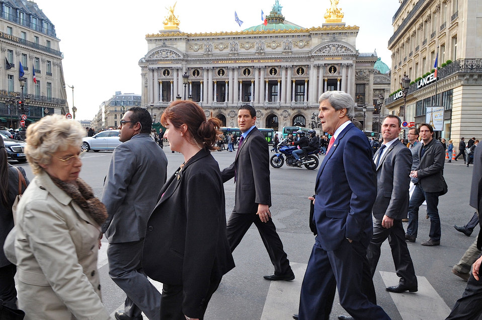 Secretary Kerry Walks in Paris
