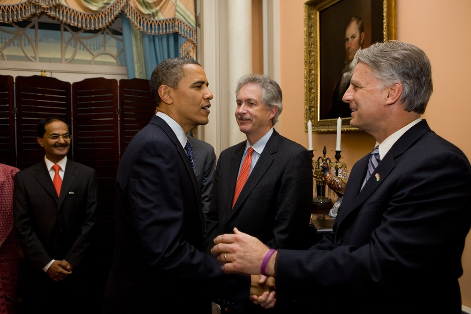 U.S. President Barack Obama Shakes Hands With Ambassador Roemer