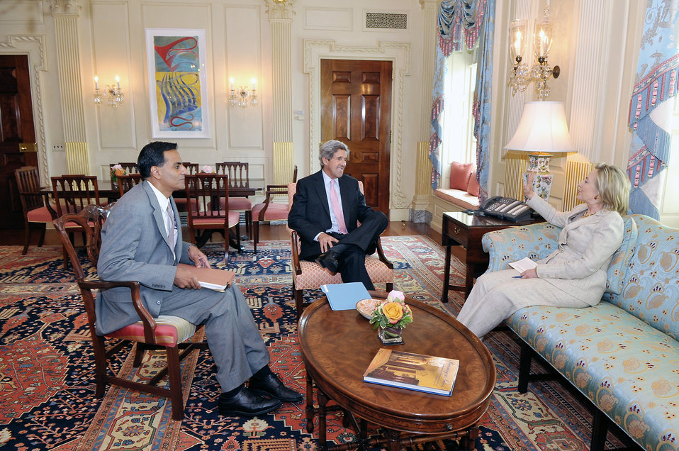 Secretary Clinton Meets With Senator Kerry and Assistant Secretary for Legislative Affairs Verma