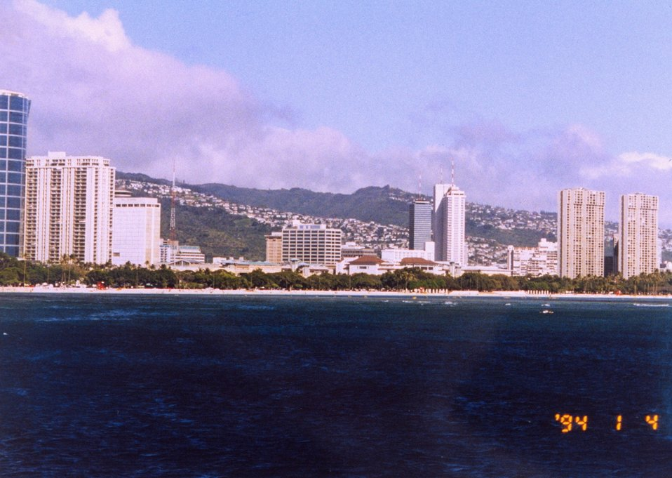Waikiki hotels as seen from offshore.