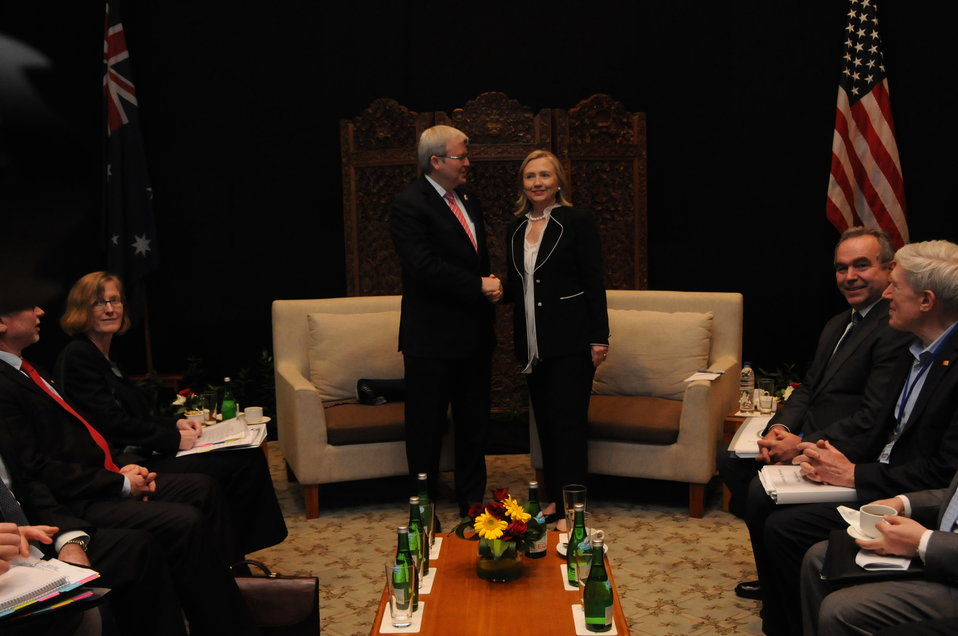 Secretary Clinton Shakes Hands With Australian Foreign Minister Rudd