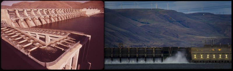 John Day Dam, Columbia River 1973 and 2012