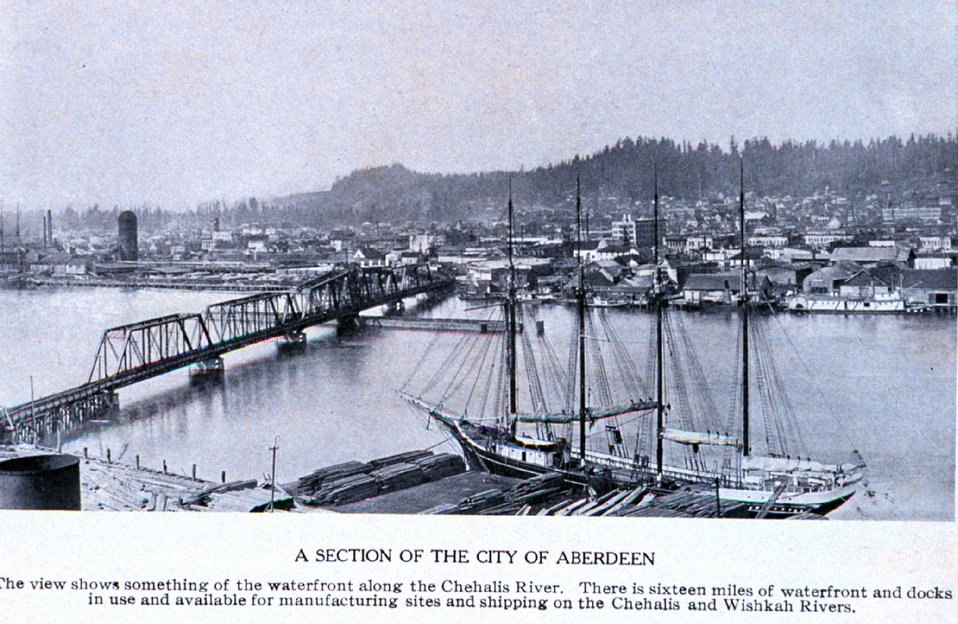 'A Section of the City of Aberdeen' along the Chehalis River. In:  'Puget Sound and Western Washington  Cities-Towns Scenery', by Robert A. Reid, Robert A. Reid Publisher, Seattle, 1912.  P. 153.