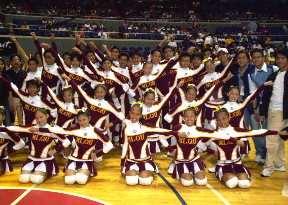 Manuel L. Quezon University cheering squad.