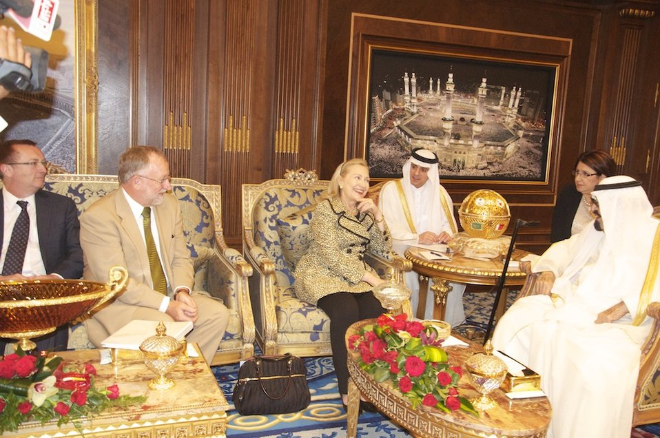 Assistant Secretary Feltman, Ambassador Smith, and Secretary Clinton Meet With King Abdullah