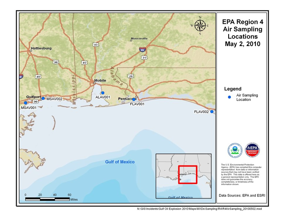 EPA Air Sampling Locations May 2, 2010